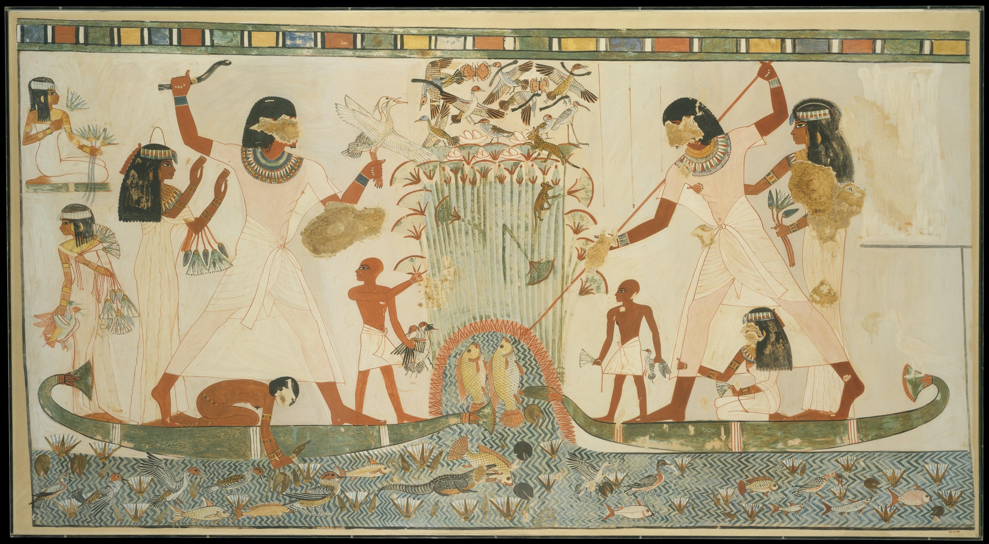 Egipatska umetnost - Page 2 Marsh-Scene-Tomb-of-Menna-1924-facsimile-of-original-from-ca.-1400-1352-BC-Met-Museum