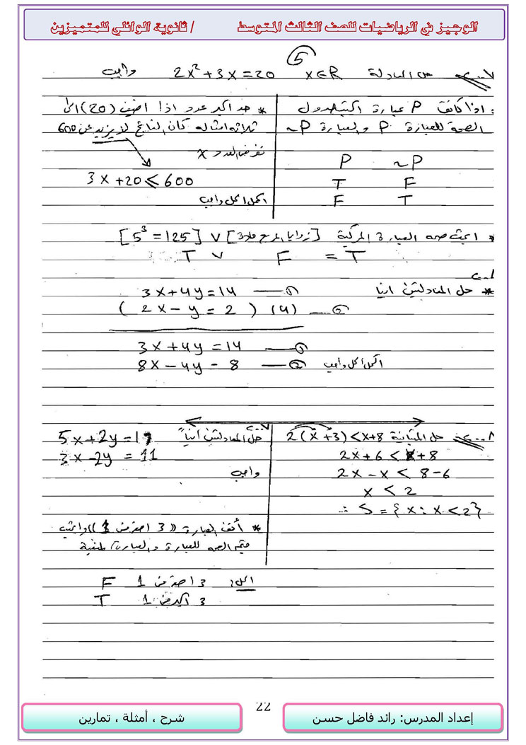 مجموعة حلول الاسئلة الوزارية لكل الاعوام - الرياضيات ثالث متوسط - 14916_22