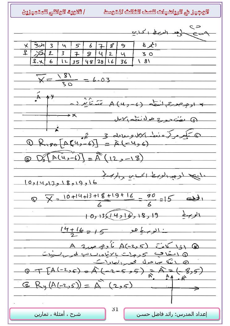 مجموعة حلول الاسئلة الوزارية لكل الاعوام - الرياضيات ثالث متوسط - 14916_31