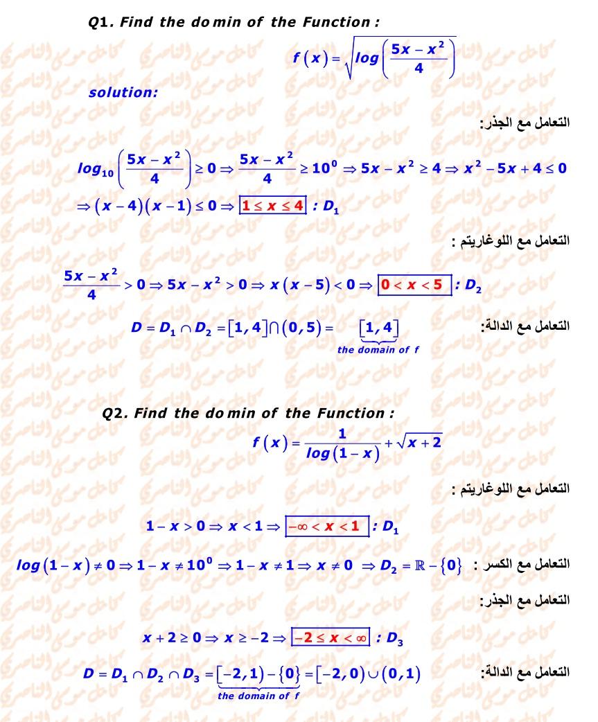 المجال والمدى - المشارك فيه متميز في الرياضيات 2_q1-2dandrsol