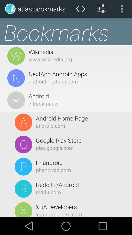 [APPLICATION ANDROID - ATLAS WEB BROWSER] Navigateur web rapide, filtres vie privée et adblock [Gratuit/Payant] Bookmarks