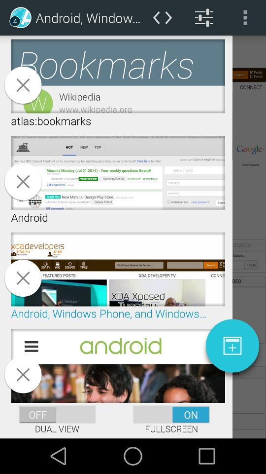 Aplikace [4.0 +] Atlas Webový prohlížeč: Ad / Soukromí filtry + materiálovém provedení LeftSlide