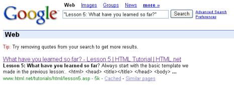 الدرس الثالث: ماذا تعلمنا حتى الآن؟ Google