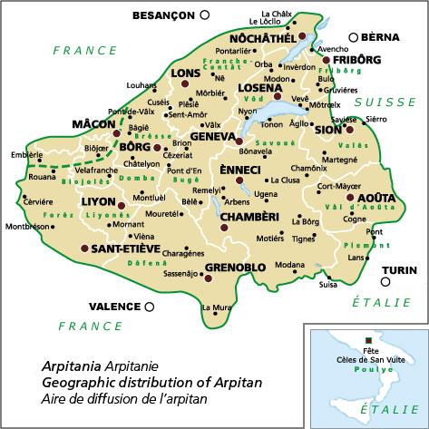 Arpitan, notre langue  : liste d'adresses web Arpitan-francoproven%c3%a7al-Map