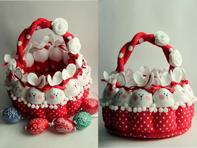 Баскет-из-кролика-кролик-ткань-красные шары-с-цветок