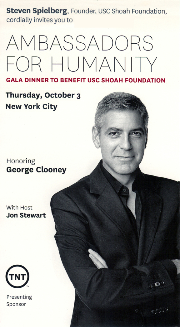 Armenians Going to New York For Shoah Gala Honoring George Clooney Clooney-invite