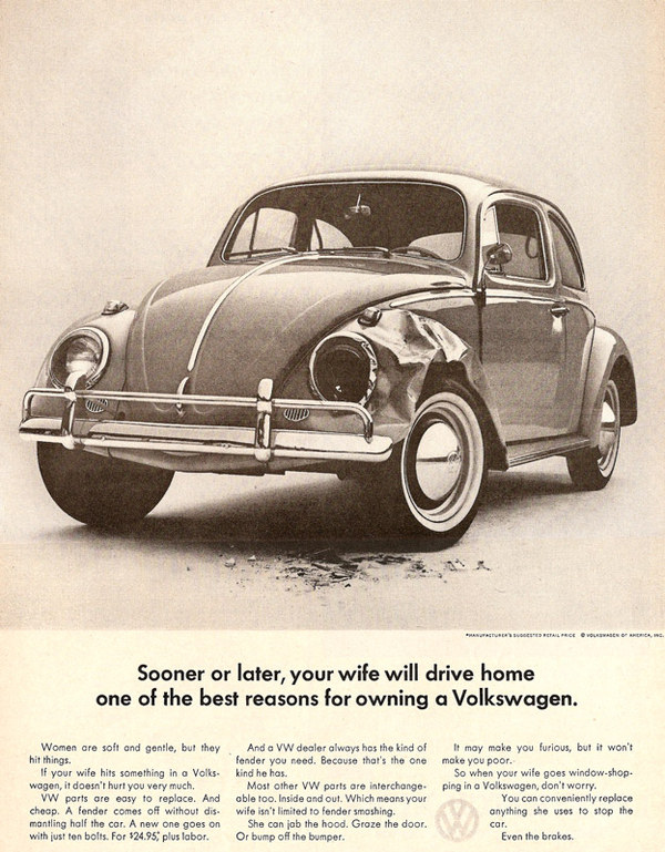 Car adverts old and new VW-Beetle-Sexist-Advert