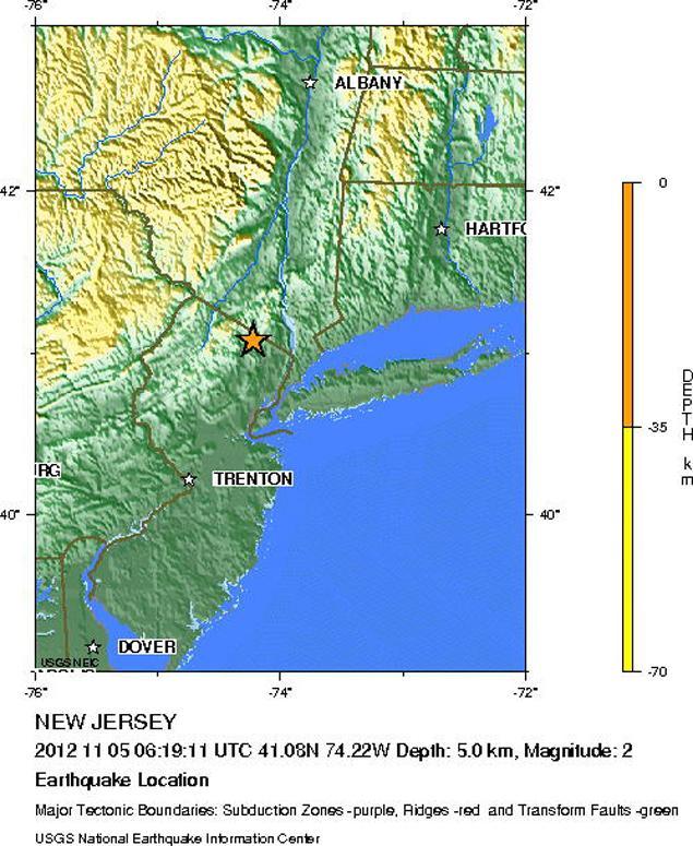 Minor earthquake shakes New Jersey New-jersey-earthquake-november-5-2012