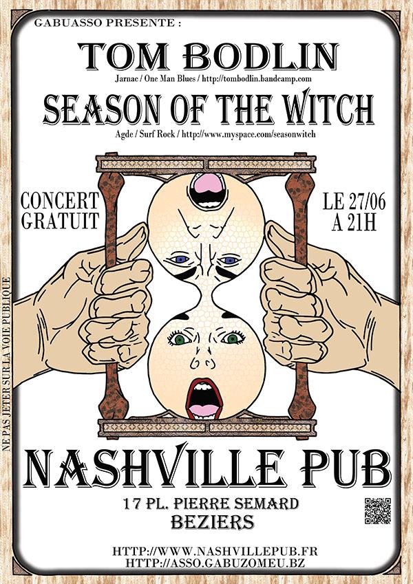 Tom Bodlin + Season of the Witch le 27/06 à Béziers (34) au Nashville Pub Concert_27062013