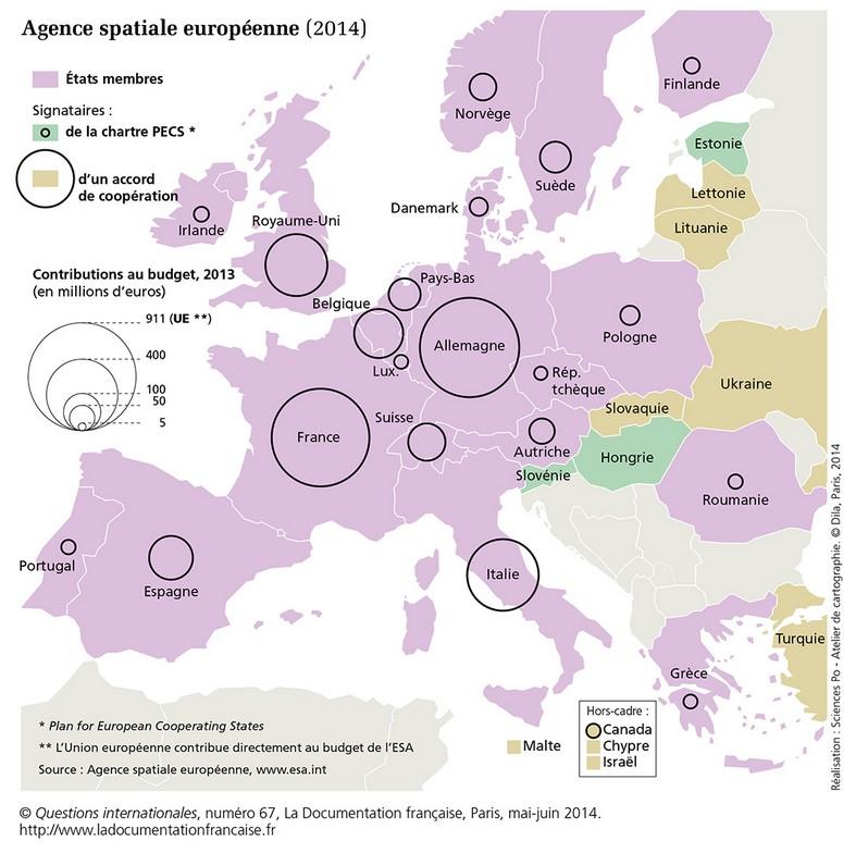 Carte geo concernant l'ESA Esa