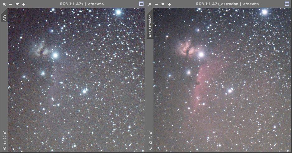 Comparaison d'un A7S standard vs A7S défiltré refiltré Astrodon A7S