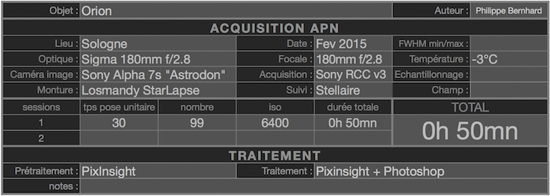 """Orion en grand champ au Sony A7s modifié """"Astrodon"""" au 180mm f/2.8 Orion_A7s_6400iso_180mm"""