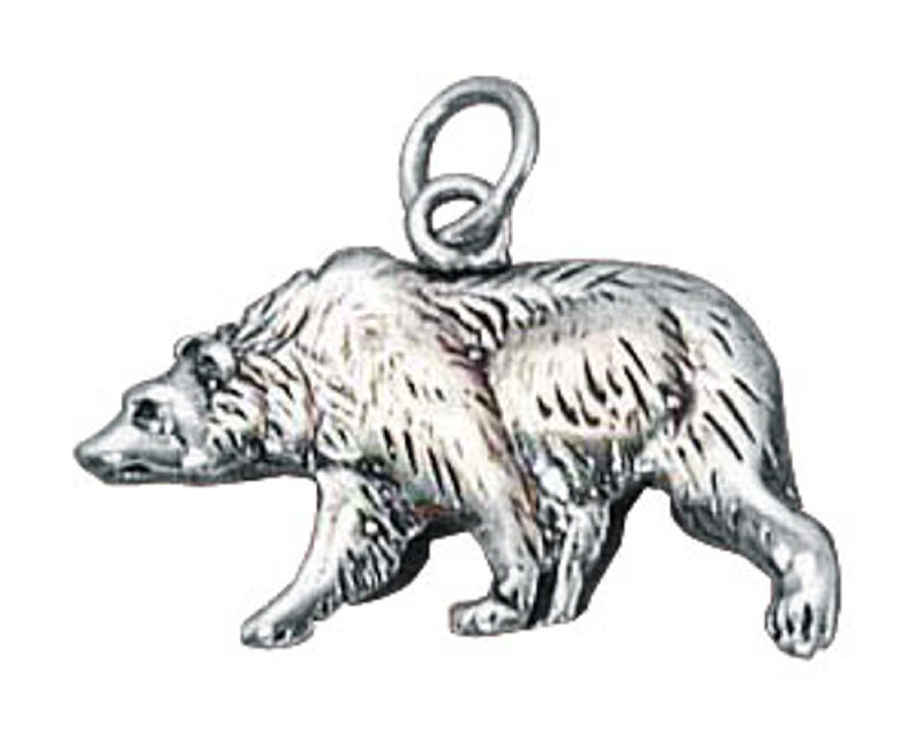 Diego Namez's Vault Sterling-Silver-Antiqued-Finish-Flat-Grizzly-Bear-Charm-ch-cdgj-cfaw