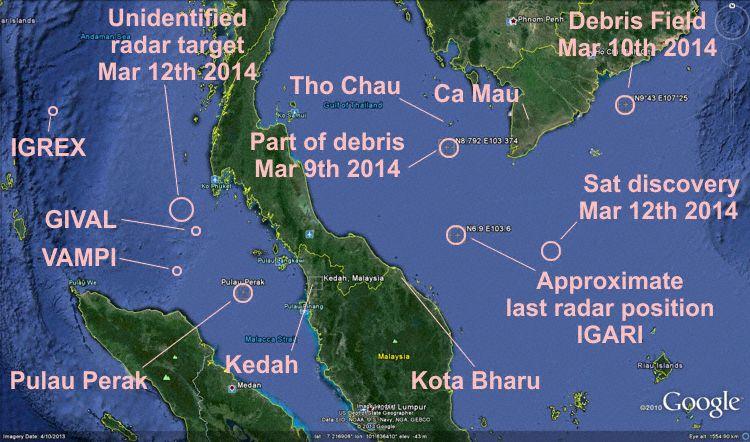 Malaysia Airlines Boeing 777-200ER Vol MH-370 immatriculé 9M-MRO porté disparu - Page 2 Malaysia_b772_9m-mro_gulf_of_thailand_140308_map