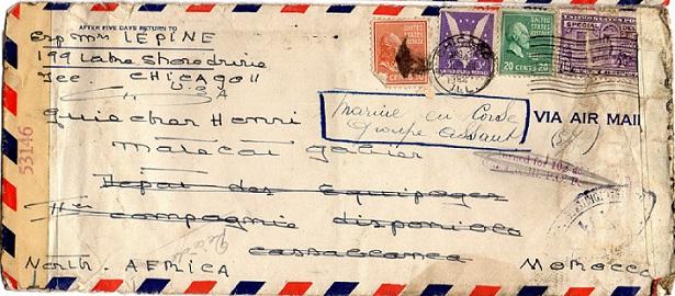 ENVELOPPE POSTE NAVALE RF à CASABLANCA 1944 Img085