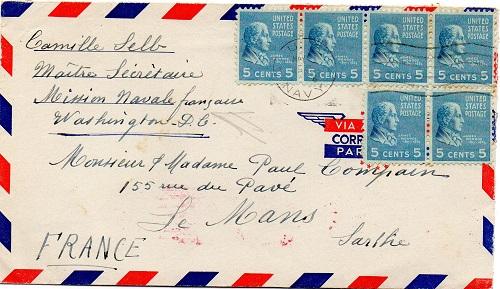 ENVELOPPE POSTE NAVALE RF à CASABLANCA 1944 Us1