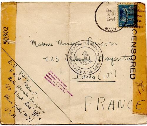 ENVELOPPE POSTE NAVALE RF à CASABLANCA 1944 Us7