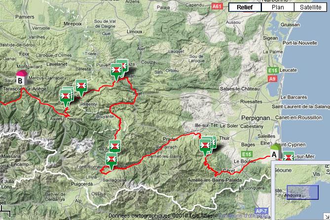 La route des 34 cols Pyréneens en Aout 2010 Carte_argeles_tarascon