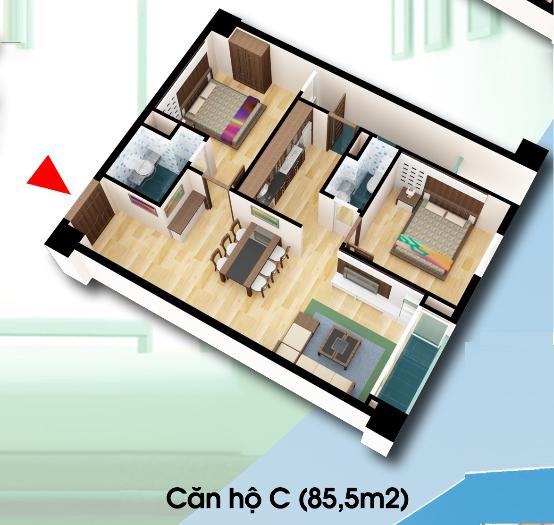 Phân phối căn hộ 85,5m2 chung cư D2CT2 Tây nam Linh Đàm Chung-cu-d2ct2-can-ho-loai-c