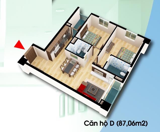 Bán Độc quyền căn hộ Diện tích 87,06m2 chung cư D2CT2 Tây nam Linh Đàm Chung-cu-d2ct2-can-ho-loai-d