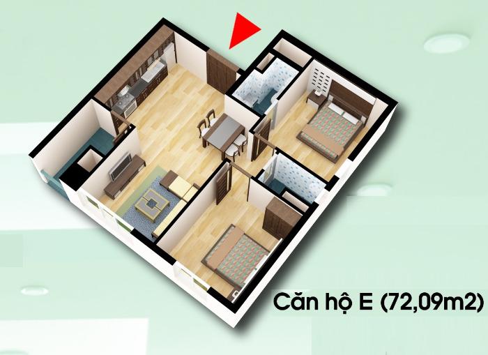 Bán căn hộ chung cư diện tích 72,09m2 – D2CT2 tây nam linh đàm Chung-cu-d2ct2-can-ho-loai-e