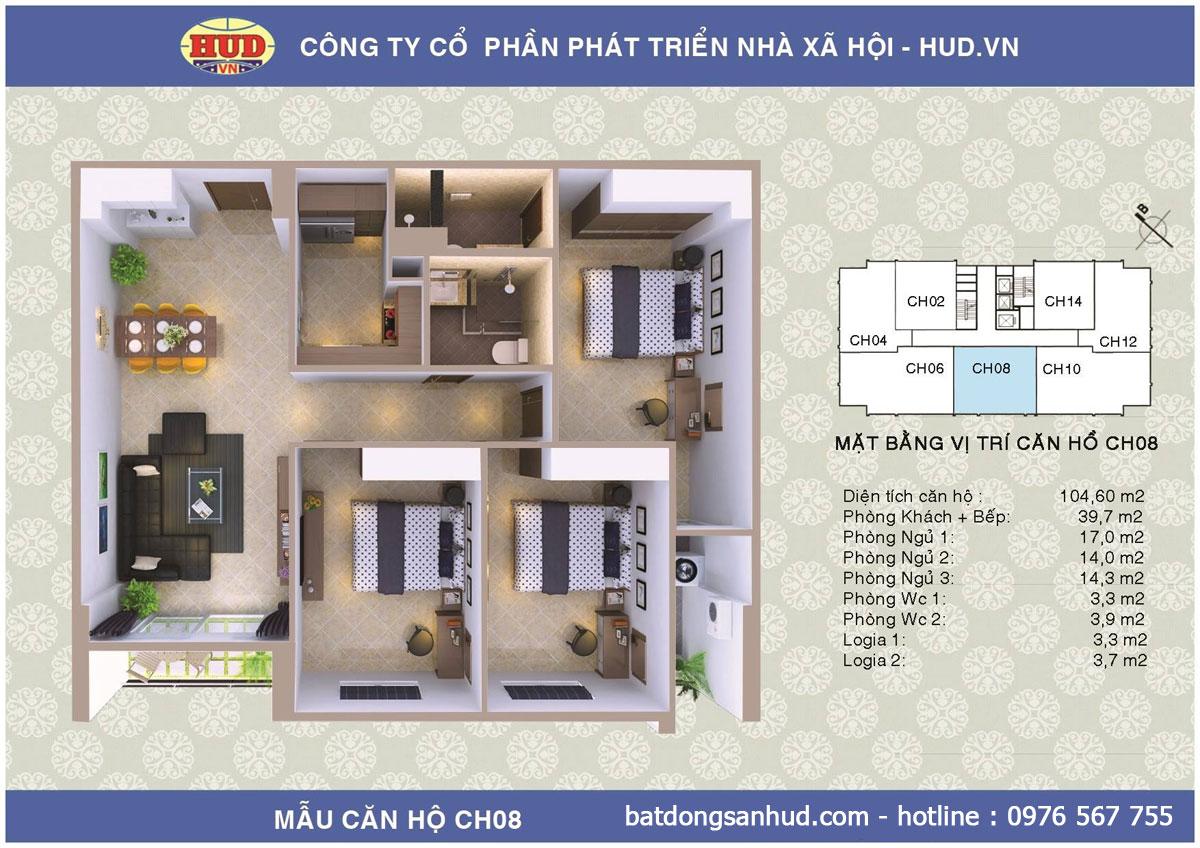 Bán căn hộ đẹp diện tích 112m2 chung cư A1CT2 Tây Nam Linh Đàm giá rẻ Ct2a1-tay-nam-linh-dam-104m2