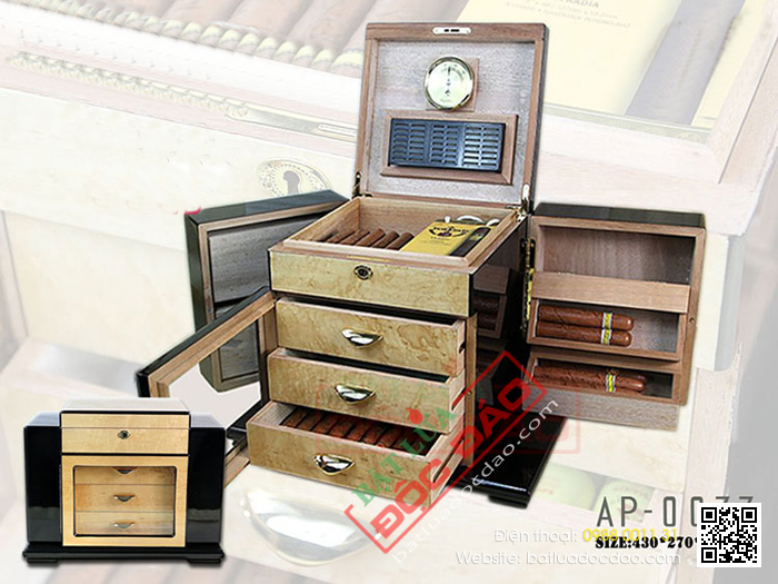 Tủ bảo quản xì gà (cigar) Humidor AP007 cao cấp, chính hãng 1452244088-tu-bao-quan-xi-ga-tu-giu-am-xi-ga-humidor-ap-0077-3