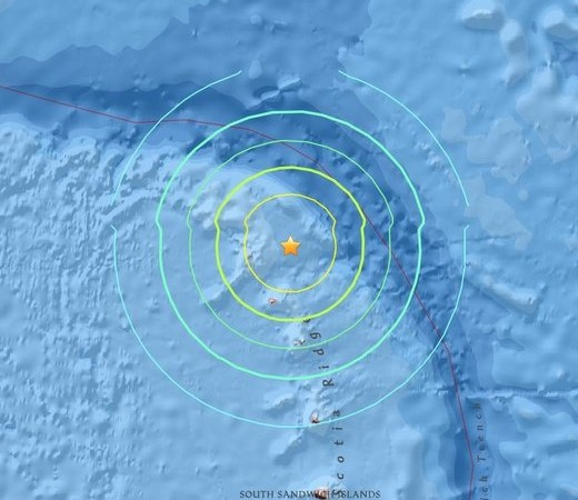 Tsunami Fears After Powerful 7.3-Mag Earthquake Strikes off British Territory SouthSanwichIslandQuake5-28-16-520x450