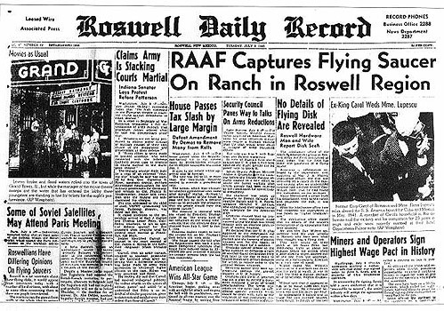 $10,000 Reward Offered to Decipher Roswell UFO Memo RoswellNewsPaperHeadline-e1467594335526