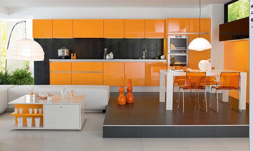 ديكورات باللون البرتقالي بدرجاته لعشاق الاختلاف وتداخله مع الالوان  Orange-home-interior-kitchen-and-dining-room-2