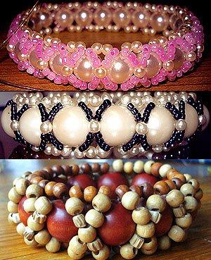 объемные браслеты из бисера и колье... A1