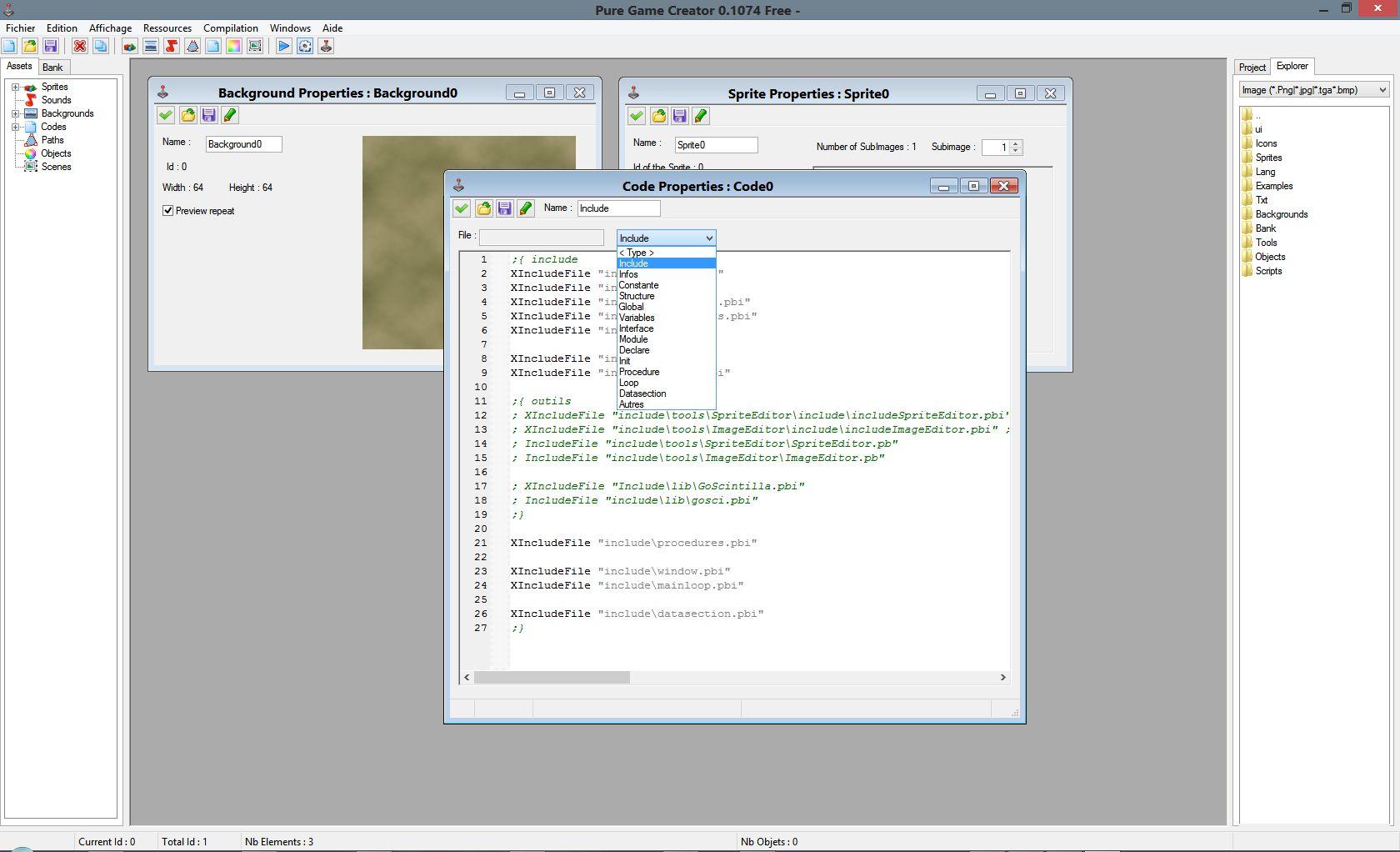 Logiciel : Editeur de jeu Screenshot0.1_code