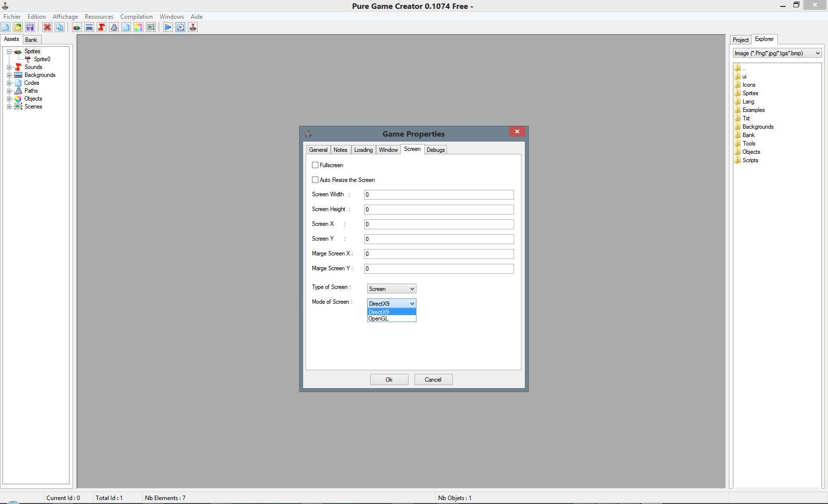 Logiciel : Editeur de jeu Screenshot0.1_gameproperties