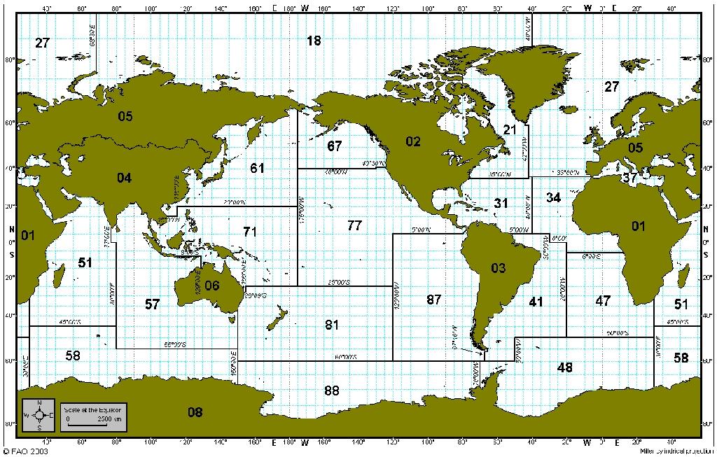 Les mers et les océans Zones-fao-2003
