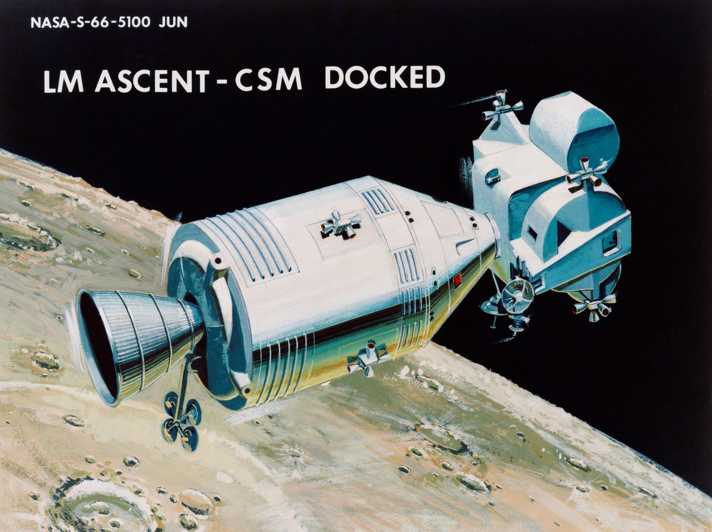 Apollo et le mode rendez-vous en orbite lunaire ( LOR ) 1966-illustration-22-Accouplement-avec-CSM-2-Ret