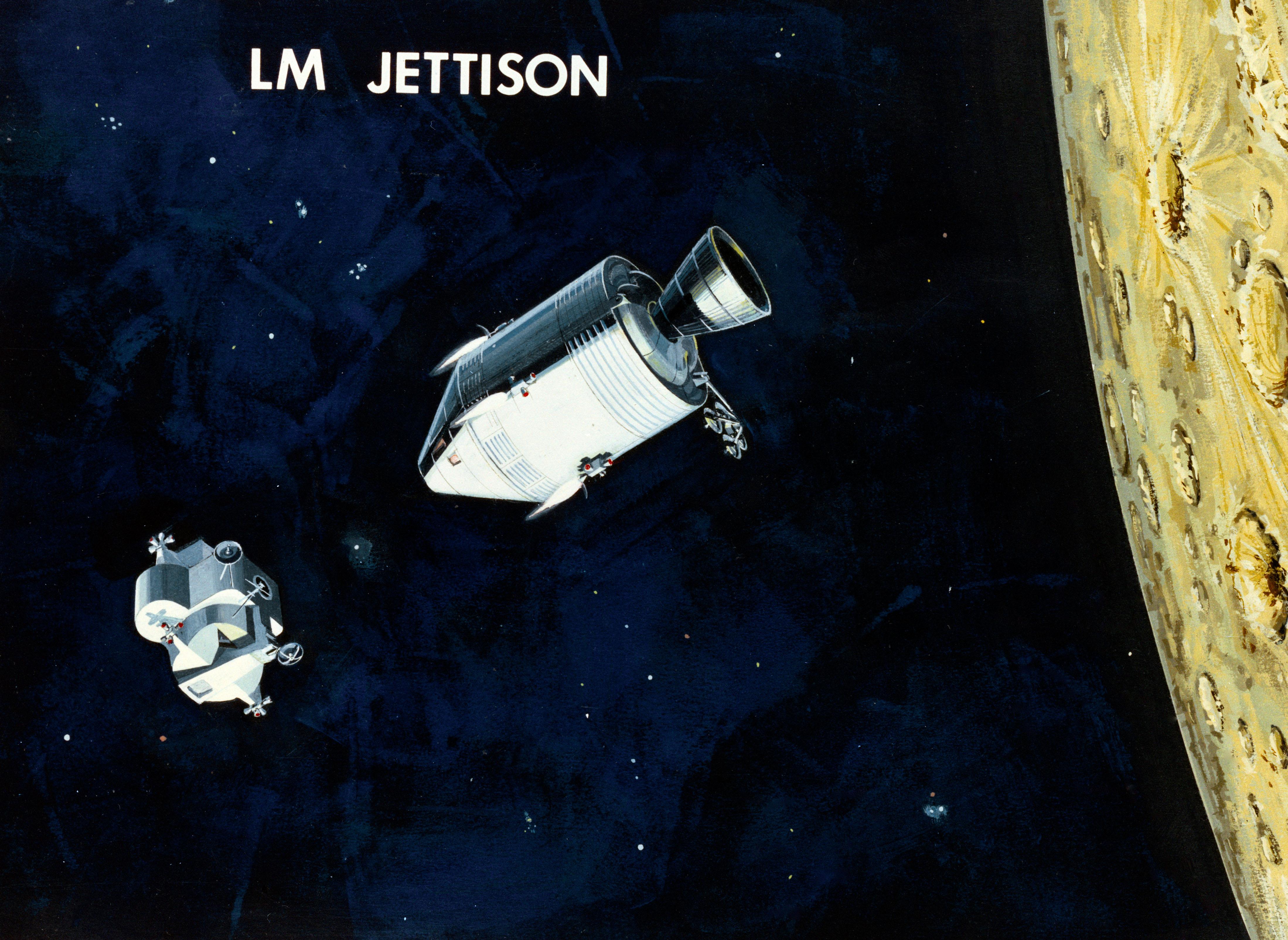 Apollo et le mode rendez-vous en orbite lunaire ( LOR ) 1966-illustration-23-Ejection-du-LEM-2