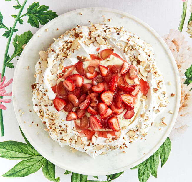 Host a Festive Brunch This Easter Almond-Pavlova-with-Strawberry-Rhubarb-Compote