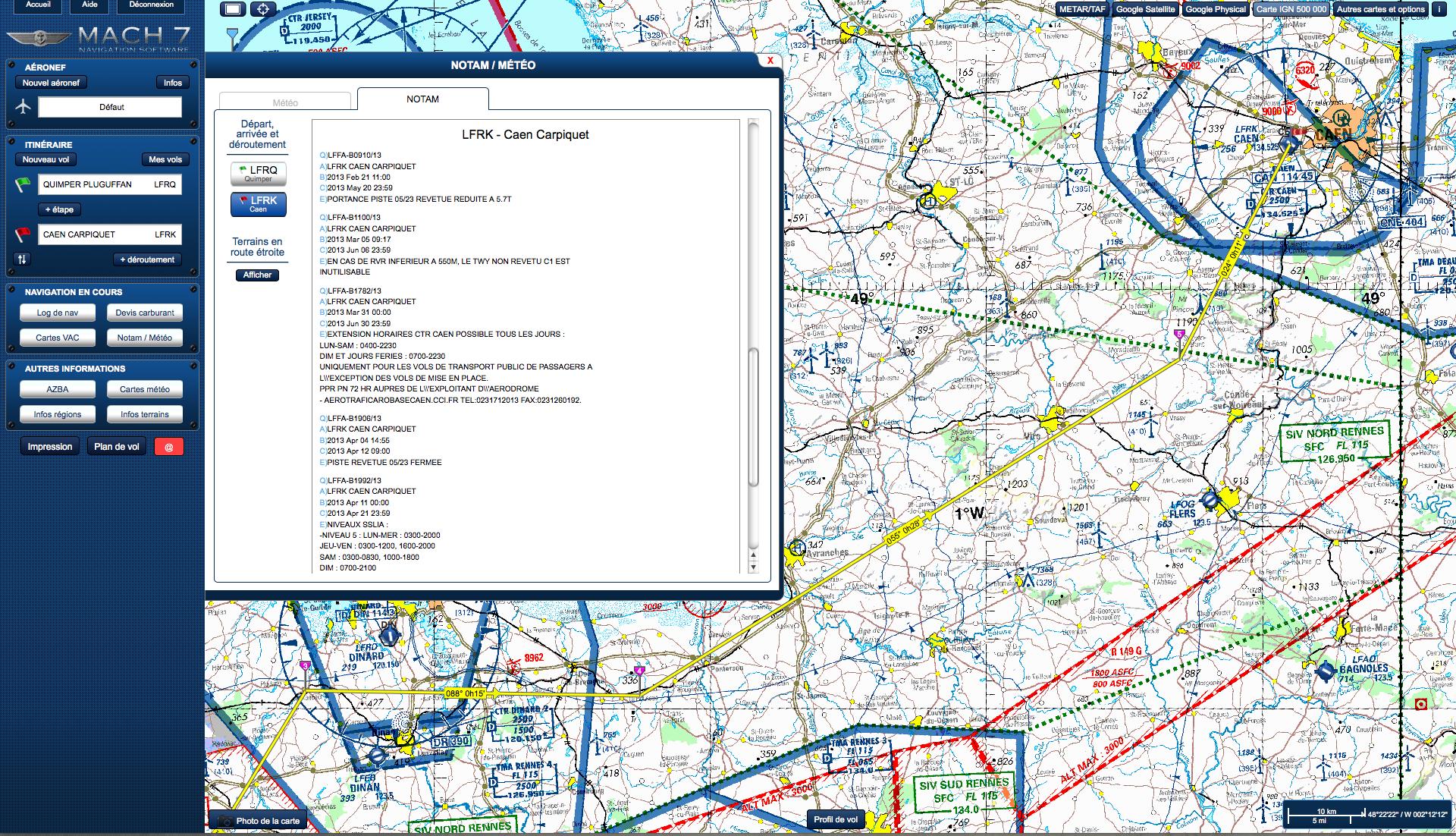Nouveau logiciel de préparation de vol VFR français Mach7-notam