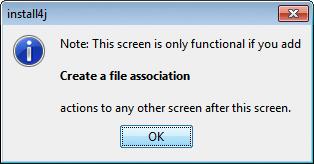 تحزيم تطبيقات الجافا الرسومية و إنشاء ملف تنصيب setup باستخدام install4j AddFileAssociationAction