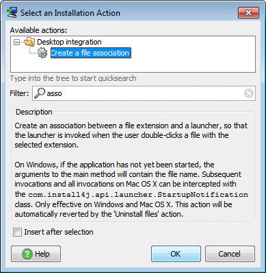 تحزيم تطبيقات الجافا الرسومية و إنشاء ملف تنصيب setup باستخدام install4j CreateFileAssociationAction