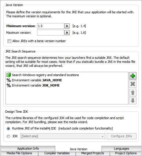 تحزيم تطبيقات الجافا الرسومية و إنشاء ملف تنصيب setup باستخدام install4j GeneralSettingsJavaVersion