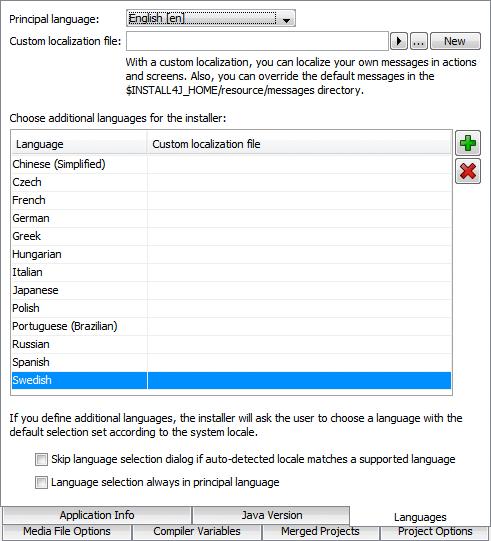 تحزيم تطبيقات الجافا الرسومية و إنشاء ملف تنصيب setup باستخدام install4j GeneralSettingsLanguages