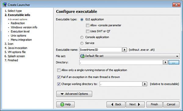 تحزيم تطبيقات الجافا الرسومية و إنشاء ملف تنصيب setup باستخدام install4j LauncherConfigureExecutable