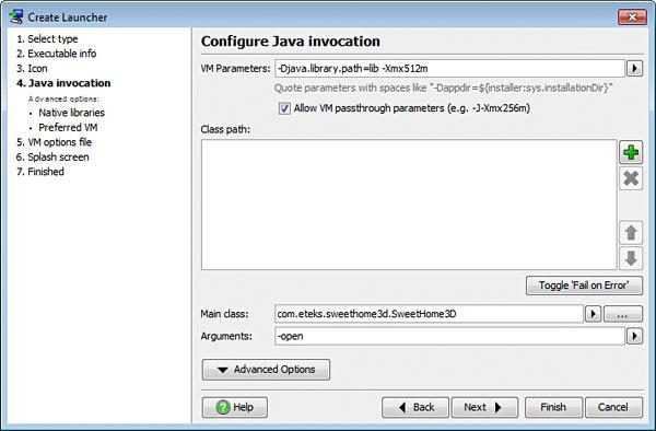 تحزيم تطبيقات الجافا الرسومية و إنشاء ملف تنصيب setup باستخدام install4j LauncherConfigureJavaInvocation