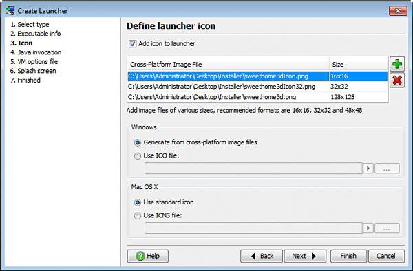 تحزيم تطبيقات الجافا الرسومية و إنشاء ملف تنصيب setup باستخدام install4j LauncherIcon
