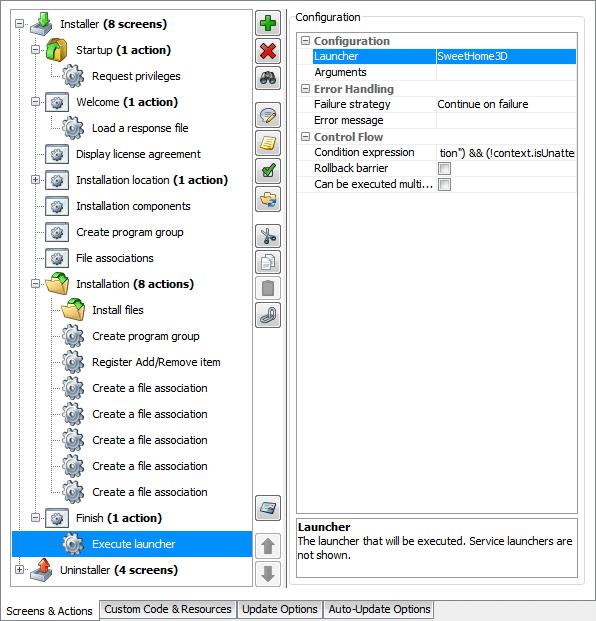 تحزيم تطبيقات الجافا الرسومية و إنشاء ملف تنصيب setup باستخدام install4j ScreensAndActions