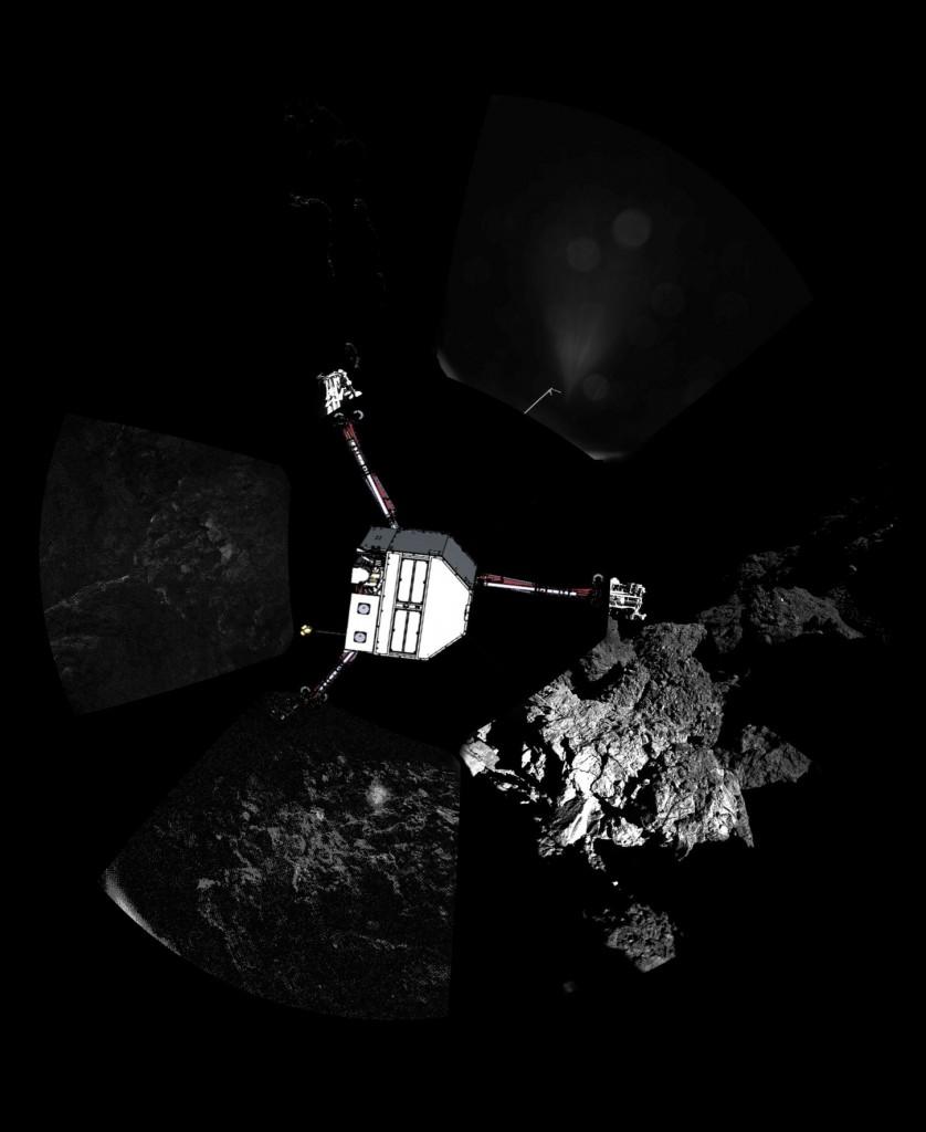 Rosetta : atterrissage et mission de Philae (Sujet N°1) - Page 40 ESA_Rosetta_Philae_CIVA_FirstPanoramic_woLander-838x1024