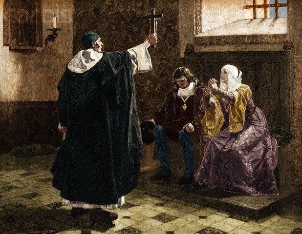 Inquisición española Torquemada-y-los-Reyes-Catolicos-ilustraci%C3%B3n-de-
