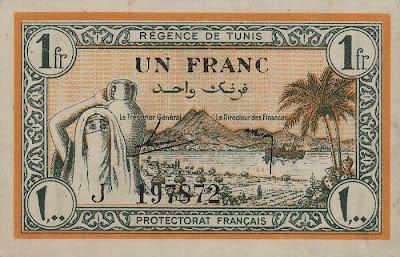 La monnaie (les billets) tunisienne à travers le temps TunisiaP55-1Franc-1943_f
