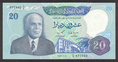 La monnaie (les billets) tunisienne à travers le temps TunisiaP81-20Dinars-1983-donatedth_f